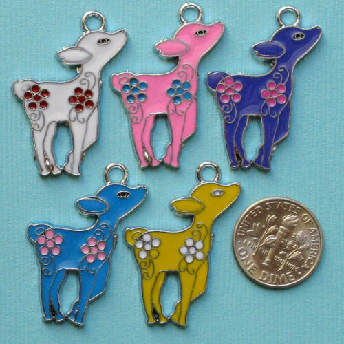 E075 5 Enamel Deer Charms Cute Colorful and Kitschy