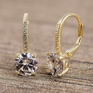 14K-Gold-Plated-Earrings-Round-Cut-Cubic-Zirconia-Leverback-Drop-Dangle
