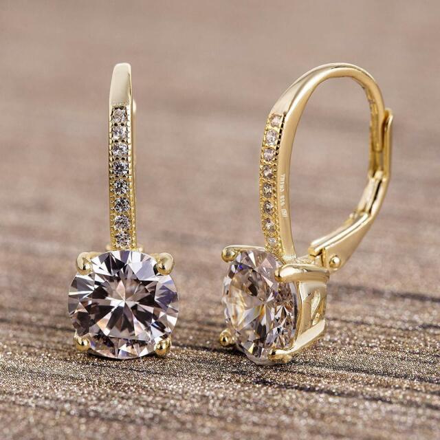 14K Gold Plated Earrings Round Cut Cubic Zirconia | Leverback Drop Dangle