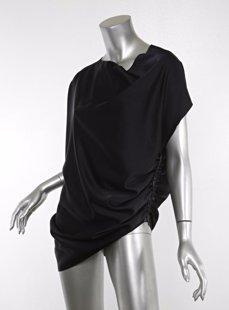 LANVIN 2013 damen Navy Blau Ruched Zipper Asymmetrical Top Blouse Shirt 6-38