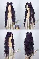 Cosplay wig Sailor Moon Luna Artemis New Long Purple Black Party Free shipp+ cap