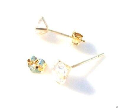 14K Yellow Gold 1Ct Cubic Zirconia 5mm Stud Screw back Earrings