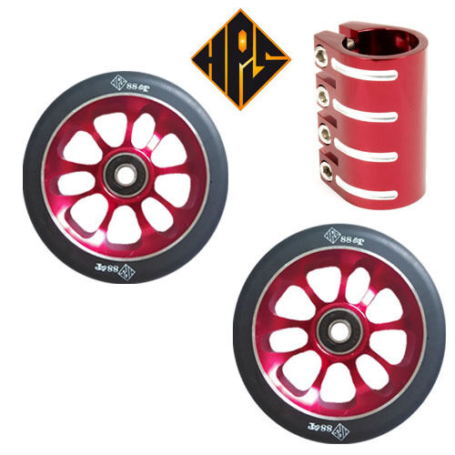 HPS PRO STUNT SCOOTER SET 2 110mm RED CORE WHEELS ABEC 11 BEARINGS QUAD CLAMP