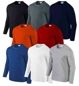 Gildan-MEN-039-S-LONG-SLEEVE-T-SHIRT-SOFT-COTTON-PLAIN-TOP-SLEEVES-CASUAL-NEW-S-2XL