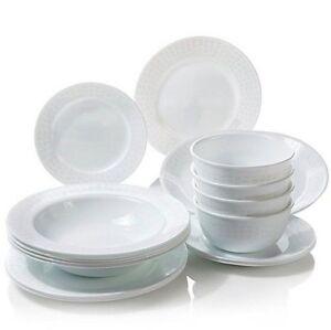 Corelle-for-Joy-Mangano-16pc-Dinnerware-Set-amp-Platter-WHITE-DIAMOND-17pc-total