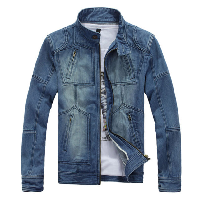 MN138_A New Mens Classic Blue Jeans Jackets Casual Vintage Washed Denim Jacket