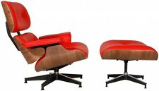 Eames Style Lounge Chair Reproduction Red Walnut Italian Leather