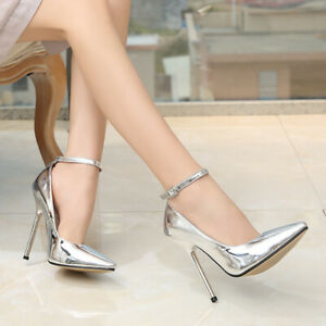 Womens-Super-High-Heels-Ankle-Strap-Pumps-Patent-Leather-Sexy-Pointed-Toe-Shoes