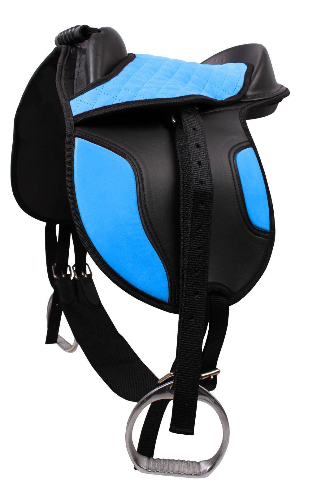 QHP Saddle Set Shetty Plastic Saddle Aluminum Stirrup Leathers Girth 4 colour.