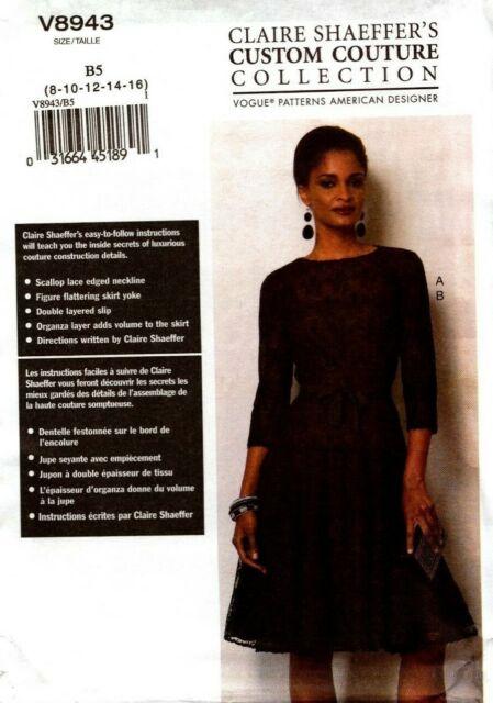 Vogue Sewing Pattern V8943 8943 Misses Dress & Slip Size 8-16 NEW
