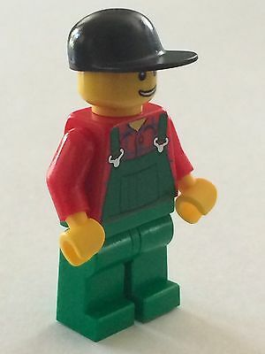 *NEW* Lego Minifig FARMER Green Overalls Black Cap