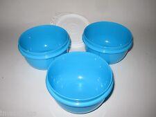 TUPPERWARE Kids Feeding Snack Bowl Set Lil Little Ideal Bowls Blue 8 oz Set of 3