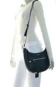 NWT-398-00-Furla-Ginevra-Shoulder-Messenger-Leather-Bag-Black