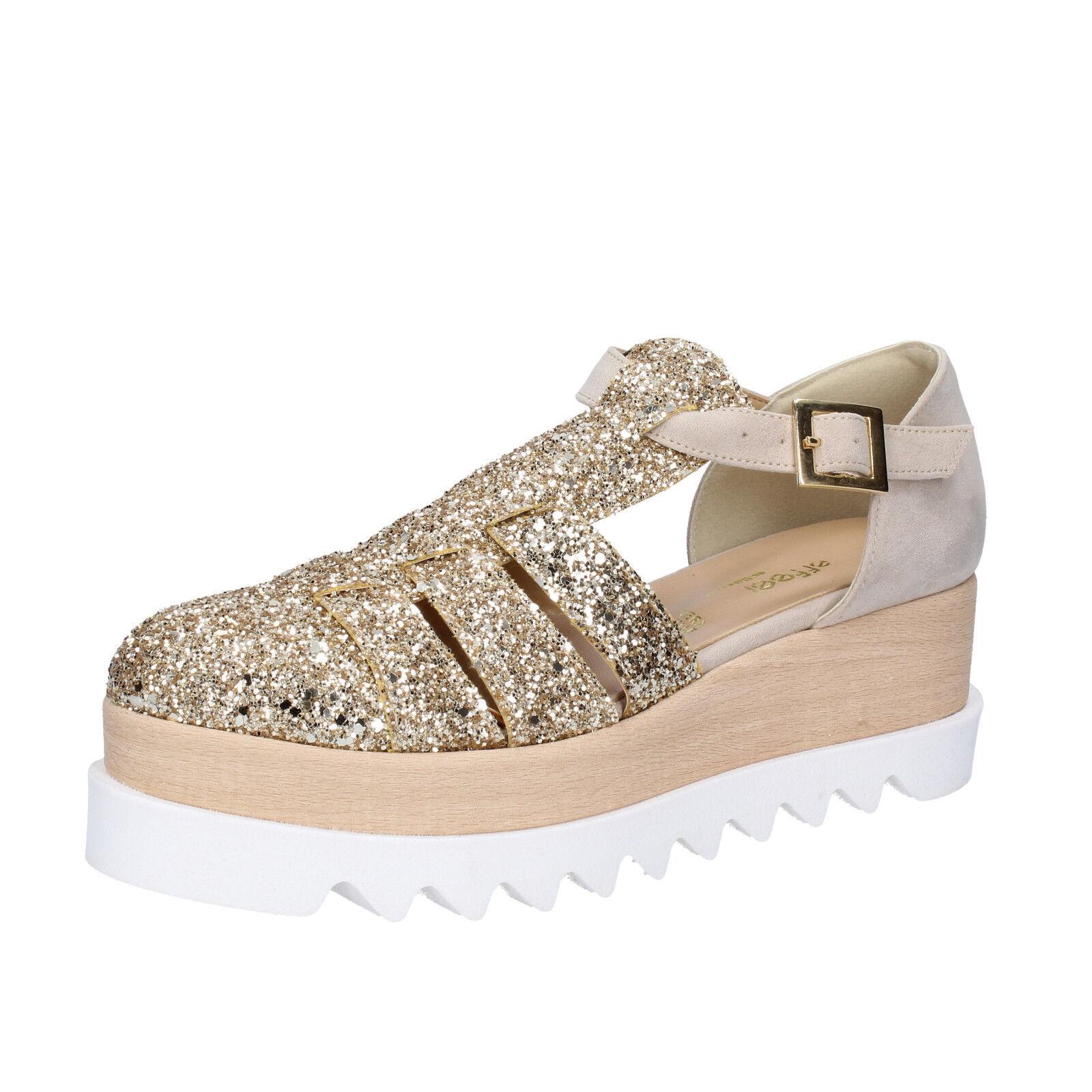 Chaussures femmes effeel 6 (UE 39) Sandales beige à paillettes en daim BT794-39