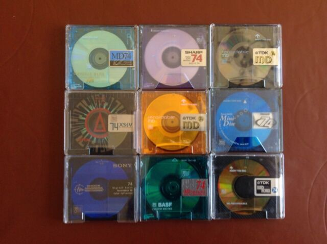 9 x 74 MINUTE USED MINIDISCS IN CASES - ALL GOOD MAKES - FREE POSTAGE