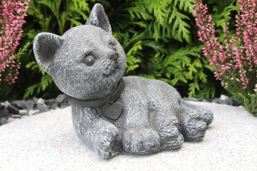 Steinfigur Katze Halsband Gartenfigur Gartendeko Geschenk Figur Steinguss Tier