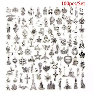 Lotti-all-039-ingrosso-100pcs-BULK-Tibetano-Argento-Mix-Charm-Ciondoli-Craft-gioielli-fai-da-te