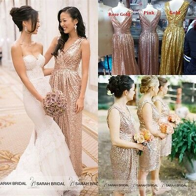 V-neck Sequin Bridesmaid Prom Formal Dresses Long Party Evening Cocktail Gown 14