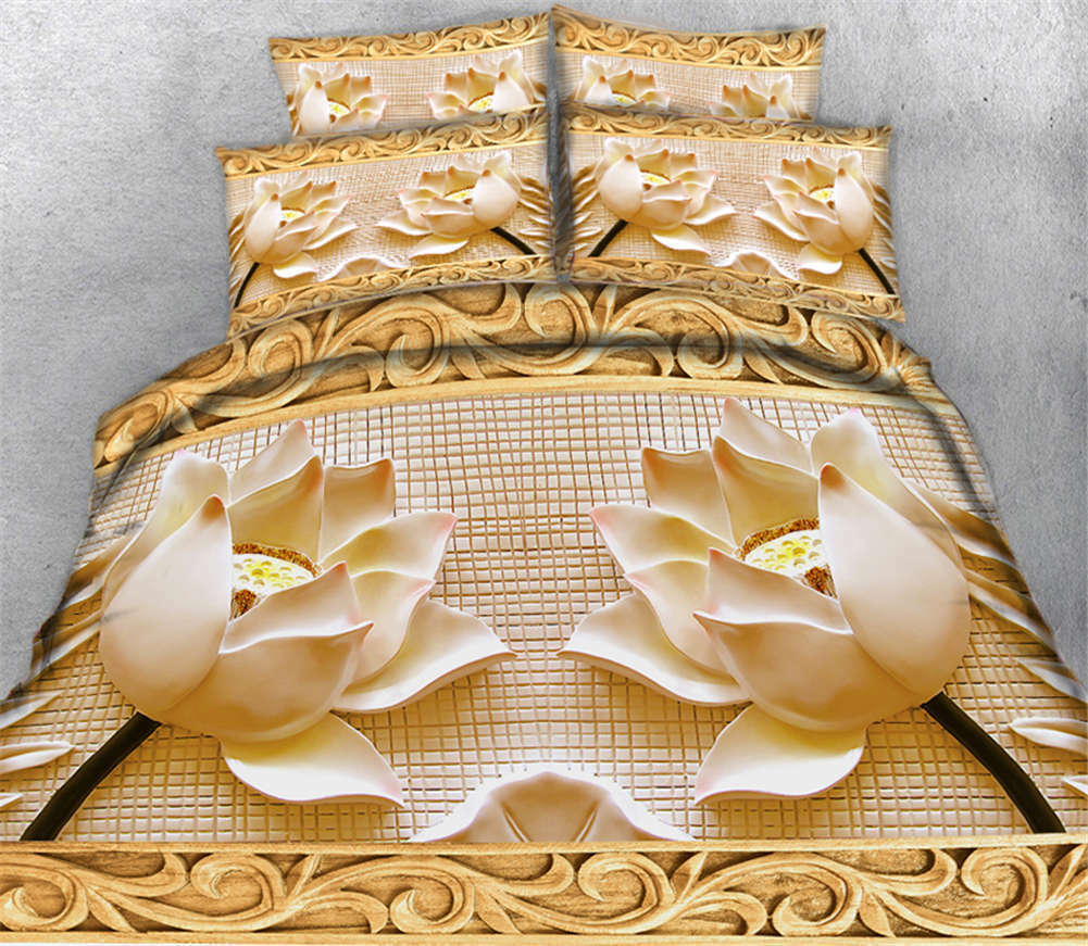 Golden Former Lotus 3D Printing Duvet Quilt Doona Covers Pillow Case Bedding Set
