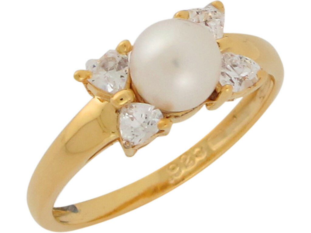 10k or 14k Yellow gold Cultured Pearl White CZ Simple Beauty Ladies Ring