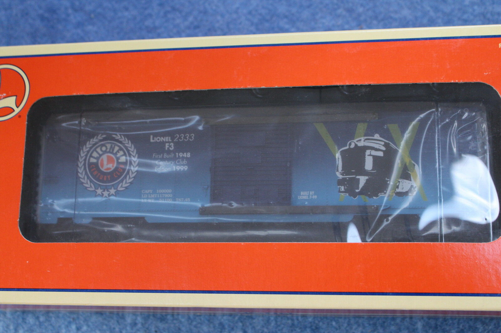 1999 Lionel 6-29248 NYC 2333 F3 Century Club Box Car L2724