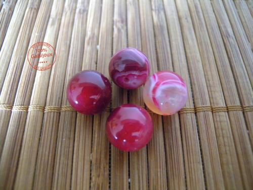 12 pz Perline Perle Agata FUSCIA Palline Sfere lisce Burattate 12mm Bigiotteria