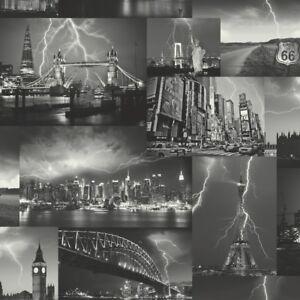 Image Is Loading City Wallpaper Skyline Paris London New York Storm