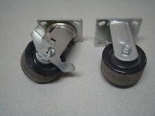 2 Caster Wheels Heavy Duty Industrial Cart Swivel Cast Iron 3 12 X 1 34