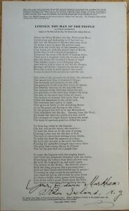 EDWIN MARKHAM Autograph/Hand-Signed 1920s Poem, Lincoln, Man of People - 8.5x14