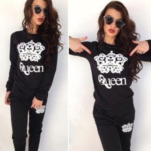 2Pcs Womens Tracksuit Hoodie Sweatshirt Sweatpants Sets Jogger Sport Lounge Wear