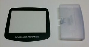 2-Gameboy-Advance-Glacier-Clear-Blue-Battery-Cover-amp-2-Replacement-Screen-Lens
