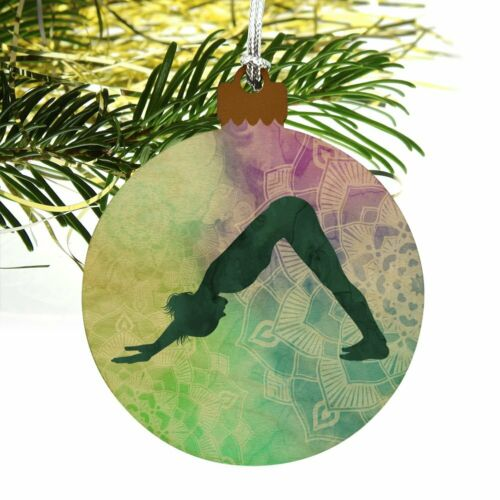 Details about  /Downward-Facing Dog Yoga Pose Wood Christmas Tree Holiday Ornament