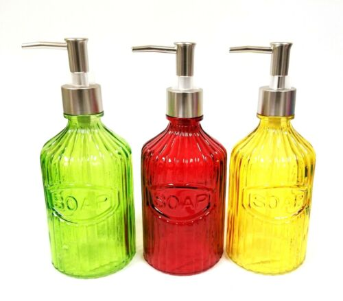 Details about  /NEW GLASS GREEN,RED,YELLOW,NICKEL SILVER PUMP,SOAP DISPENSER