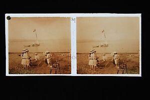 Cavallaire France A La Plage Plaque Stéréo Pos. Vers 1920