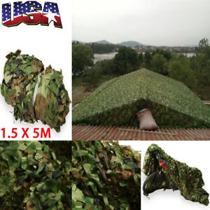 5FT* 16.4FT Woodland Leaf Camouflage Army Camo Net Netting  Hide Tent Hunting US
