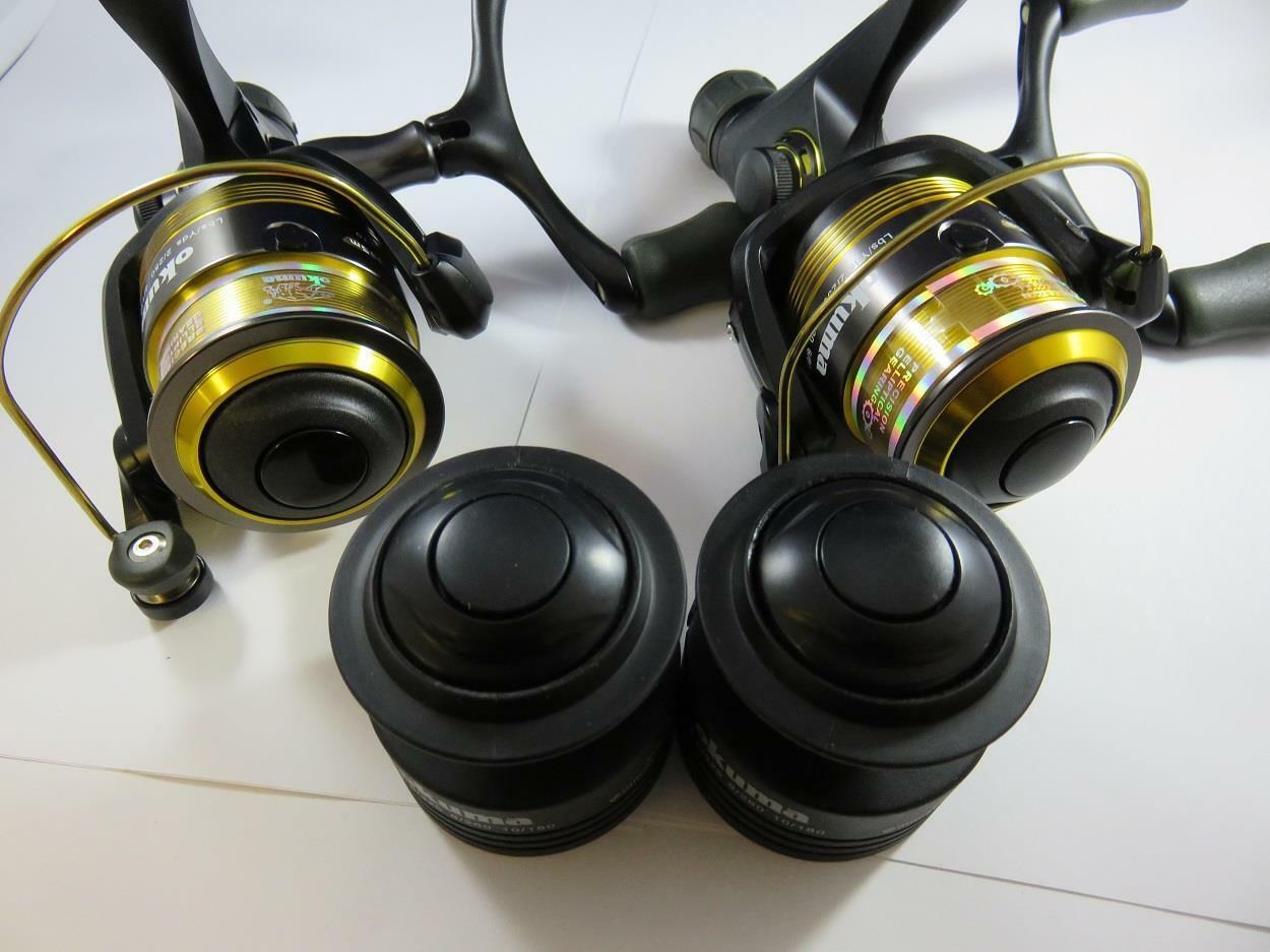 2 X OKUMA CARBONITE 2M CBR335M CBR335M CBR335M REAR DRAG FISHING REEL 3BB + SPARE SPOOL f3e1ee