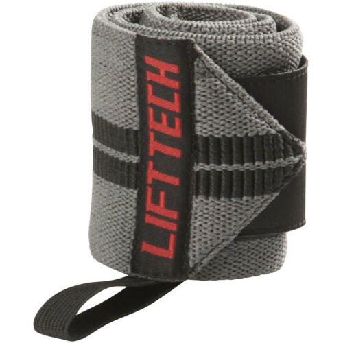 Lift Tech Fitness Comp Thumb Loop Weight Lifting Wrist Wraps Gray