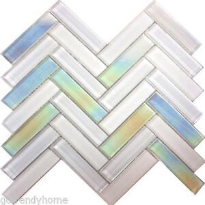 Details About Pure White Iridescent Herringbone Gl Mosaic Tile Kitchen Wall Backsplash