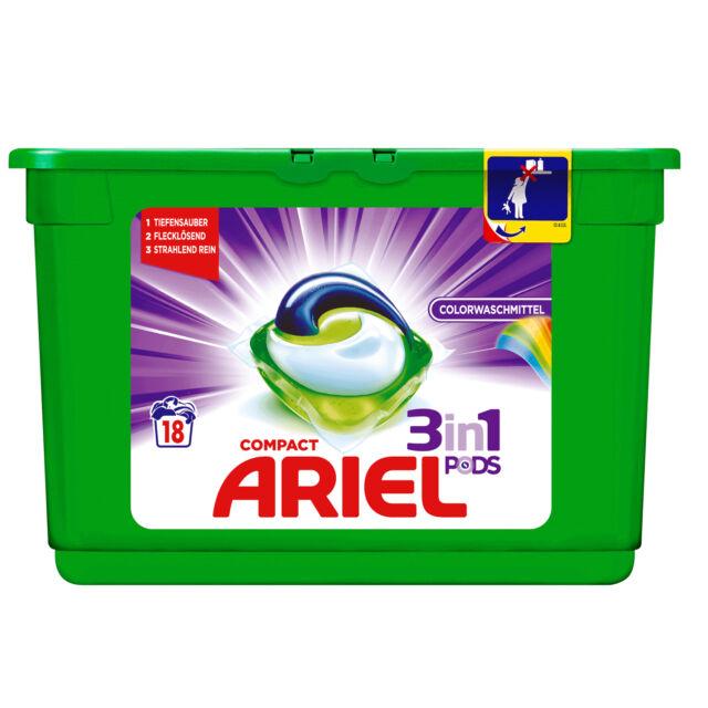 (16,64 €/ kg) 4 x Ariel Compact Color Pods 3in1 16wl Colour Textiles Liquid