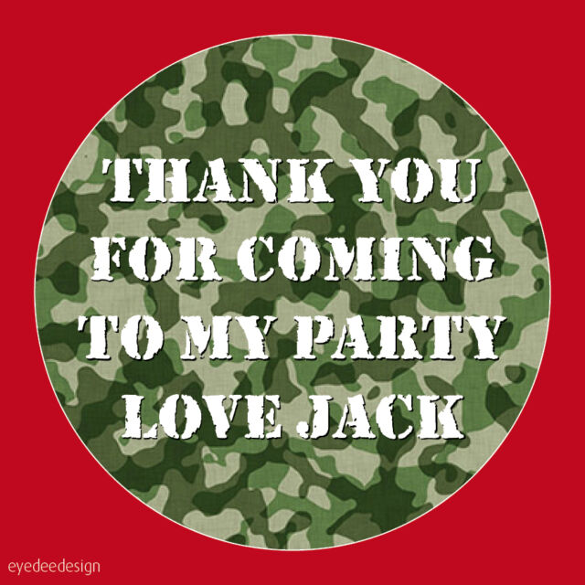 Personalised Army Camouflage Birthday Stickers Party Thank You Seals COD-N138