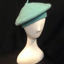 Obermeyer Beret Hat One Size 100% Wool Beanie French Artist Peacock Blue