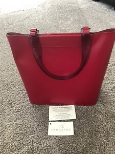 Red Leather Bucket Bag Tote
