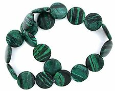 21mm Flat Round Coin Malachite Colored Dyed Jade Gemstone Bead 15 Inch Strand