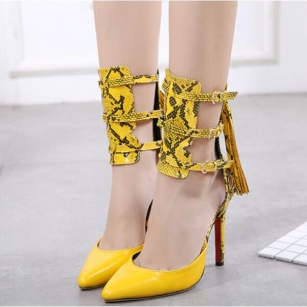 Court shoes women's sandals elegant yellow strap 12 cm comfortable like leather