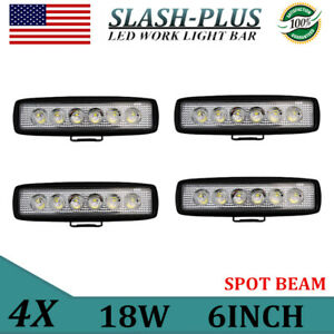 "Slim 4X 6/""inch 18W LED Work Light Bar SPOT Driving Truck Offroad Single Row 4D+"