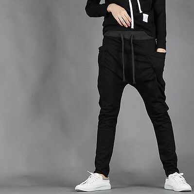 Mens Long Jogger Harem Sport Pants Loose Casual Gym Jogging Trousers StretchWear
