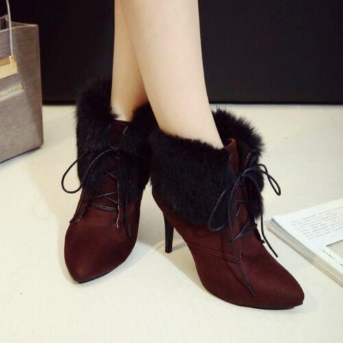 Womens Warm Fur Trim Ankle Boots Lady High Heel Pointed Toe Party Pumps US Size