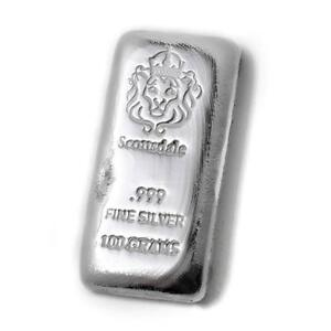 100-Gram-Cast-Silver-Bar-by-Scottsdale-Mint-999-Silver-Bullion-100g-A130