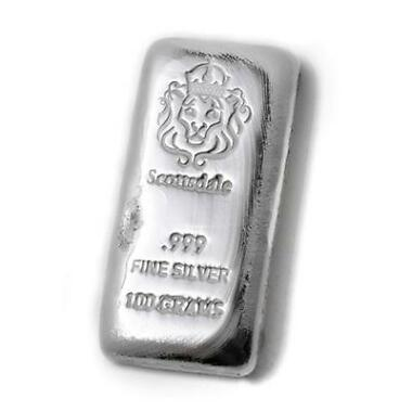 100 g Gram Cast Silver Bar by Scottsdale Mint
