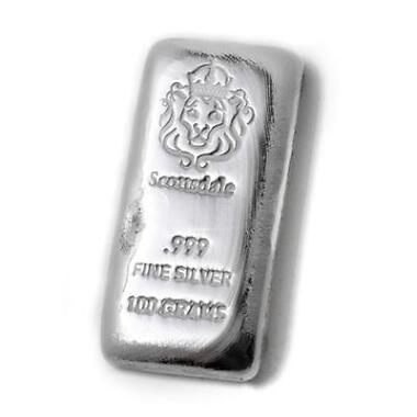 100 g Gram Cast Silver Bar by Scottsdale Mint